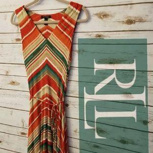 Ralph Lauren Multi Colored Stripe Dress Sz SMALL